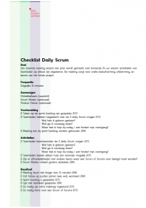 Checklist Daily Scrum Meeting